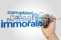 Immorality word cloud. Concept on grey background Stock Photos