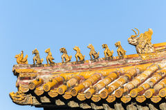 Immortal and beasts on the eaves of the building, Forbidden City Royalty Free Stock Photo