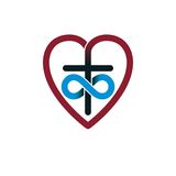Immortal God Christian Love conceptual logo design combined with. Infinity loop sign and Christian Cross and heart, vector creative symbol Stock Photography