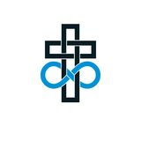 Immortal God conceptual logo design combined with infinity loop Royalty Free Stock Photography