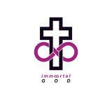 Immortal God conceptual logo design combined with infinity loop. Sign and Christian Cross, vector creative symbol Royalty Free Stock Photo