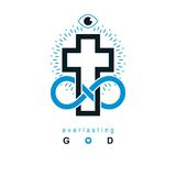 Immortal God conceptual symbol combined with infinity loop sign. And Christian Cross, vector creative logo Royalty Free Stock Images