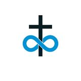 Immortal God conceptual symbol combined with infinity loop sign. And Christian Cross, vector creative logo Stock Photos