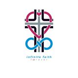 Immortal God conceptual symbol combined with infinity loop sign. And Christian Cross, vector creative logo Royalty Free Stock Photography