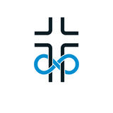 Immortal God conceptual symbol combined with infinity loop sign. And Christian Cross, vector creative logo Stock Image