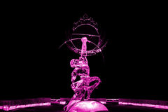 Immortal Kuafu ice sculpture pink Stock Photos