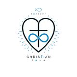Immortal Love of God conceptual symbol combined with infinity lo. Op sign and Christian Cross with heart, vector creative logo Stock Image