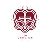 Immortal Love of God conceptual symbol combined with infinity lo. Op sign and Christian Cross with heart, vector creative logo Stock Photo
