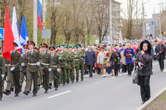 Immortal regiment in the city. Royalty Free Stock Photos