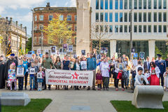 Immortal Regiment in Manchester, UK, in honour of Victory Day Stock Photos
