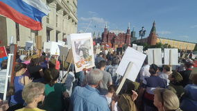 Immortal Regiment in Moscow stock video