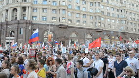 Immortal Regiment in Moscow stock video footage