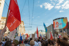 Immortal Regiment in Moscow Stock Image