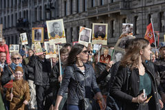 Immortal regiment at the victory parade Stock Photos