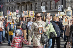 Immortal regiment at the victory parade Royalty Free Stock Photos