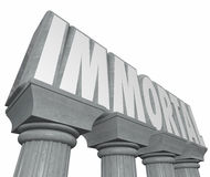 Immortal Word Stone Marble Columns Indestructible Neverending Li. Immortal word on stone or marble columns to illustrate or symbolize neverending life and Royalty Free Stock Photos
