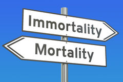 Immortality or mortality concept on the road signpost, 3D render Royalty Free Stock Photography