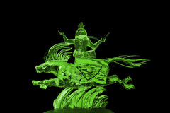 Immortals and Pegasus ice sculpture green Stock Photos