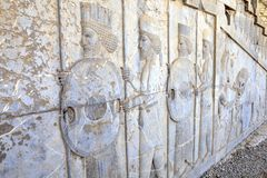 Immortals persian warriors bas relief in Darius palace, Persepol Royalty Free Stock Photos