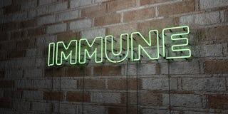 IMMUNE - Insegna al neon d'ardore sulla parete del lavoro in pietra - 3D ha reso l'illustrazione di riserva libera della sovranit illustrazione vettoriale