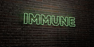 IMMUNE -Realistic Neon Sign on Brick Wall background - 3D rendered royalty free stock image. Can be used for online banner ads and direct mailers Stock Photography