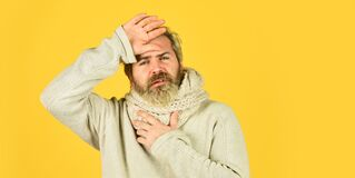 Free Immune Response. Bearded Man Sick. Warm Scarf Around Neck. Cold Flu Fever Concept. Body Temperature. Fever And Thermal Royalty Free Stock Image - 177149406