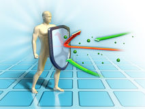 Immune shield. Immune system defends the human body from external attacks. Digital illustration Royalty Free Stock Image