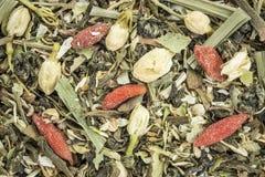 Immune system herbal tea. Closeup background of an immune system herbal tea including chrysanthemum and jasmine flower, lemon grass, ginko tea,, Buddha tea Stock Images