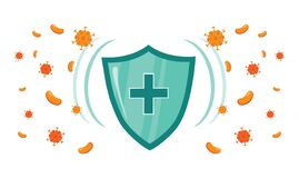 Free Immune System Vector Icon Logo. Health Bacteria Virus Protection. Medical Prevention Human Germ. Healthy Shield Royalty Free Stock Photos - 177136718