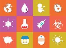 Immunisering- och vaccineringläkarundersökningsymboler Royaltyfri Foto