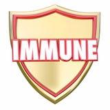 Immunità sicura di rischio di malattia di virus di protezione dello schermo immune dell'oro Immagine Stock