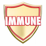 Immunité sûre de risque de maladie virale de protection de bouclier immunisé d'or Image stock