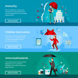 Immunity And Vaccination Banners Set Royalty Free Stock Photography