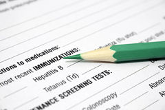 Immunization. Close up of medical form - immunization royalty free stock photography