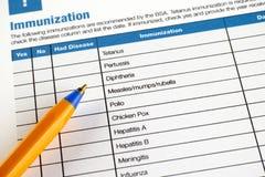 Immunization application form Royalty Free Stock Photography
