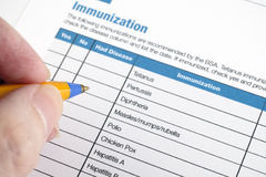 Immunization application form Royalty Free Stock Photos