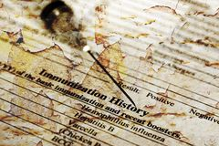 Immunization history. CLose up of Immunization history stock image