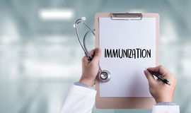 IMMUNIZATION Immune System as medical concept , Syringe. Immun. Ization , immune protection system , immune system royalty free stock photos