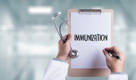 IMMUNIZATION Immune System  as medical concept ,  Syringe. Immun Royalty Free Stock Photos