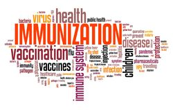 Immunization. And vaccines - health care concept. Word cloud sign royalty free illustration