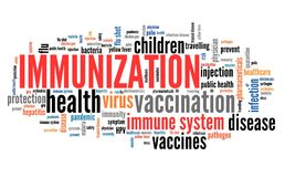 Immunization. And vaccines - health care concept. Word cloud sign stock illustration
