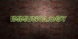 IMMUNOLOGI - fluorescerande tecken för neonrör på murverk - främre sikt - 3D framförd fri materielbild för royalty stock illustrationer