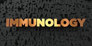 Immunologi - guld- text på svart bakgrund - 3D framförd fri materielbild för royalty royaltyfri illustrationer