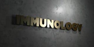 Immunologi - guld- text på svart bakgrund - 3D framförd fri materielbild för royalty stock illustrationer