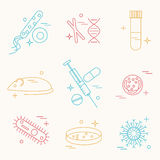 Immunology research icons. Set. Stock vector illustration of DNA, petri dish, virus, bacteria, mouse, blood vacutainer, syringe, antibody and human cell Royalty Free Stock Photography