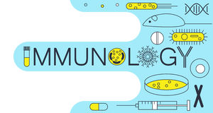 Immunology research icons. Immunology word formed by research icons. Stock vector illustration of DNA, petri dish, virus, bacteria, mouse, blood vacutainer Royalty Free Stock Images