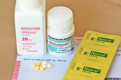 Immunosuppressant drugs. Selection of various immunosuppressant drugs such as Methotrextate, Arava and Ciclosporin used for the treatment of autoimmune diseases Stock Photography