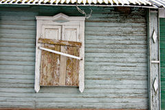Immured Old wooden window in a wall Stock Image
