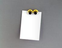 Imán del refrigerador de los ojos de las mujeres y nota en blanco Imagenes de archivo