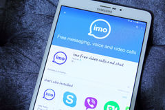 Imo. Downloading imo video calls and text application from google play store on samsung tab s2 Royalty Free Stock Image
